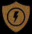 hexagon halftone electric guard icon vector image vector image