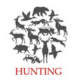 hunting sport poster of forest and african animal vector image vector image