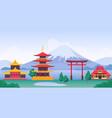 japan landscape with mountain fuji landmarks vector image