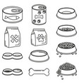 line art black and white 12 pet food elements vector image vector image