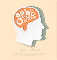 man head with gears as a symbol work of brain vector image