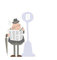 Man smoking a pipe and reading a newspaper vector image vector image