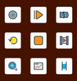 media colorful outline icons set collection of vector image vector image