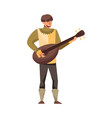 medieval bard or minstrel playing musical
