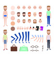 modern guy with spare outfits and body parts set vector image vector image