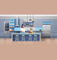 modern kithcen interior and young african american vector image vector image