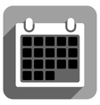 Month Calendar Flat Square Icon with Long Shadow vector image
