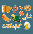 oktoberfest sticker flat or cartoon style vector image