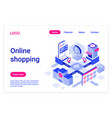 online shopping isometric landing page template vector image