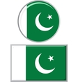 Pakistani round and square icon flag vector image