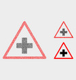 pixel medical warning triangle icons vector image vector image