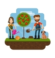 Planting of the tree orchard farmer farm Flat vector image