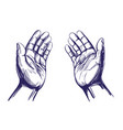 praying hands symbol christianity hand drawn vector image