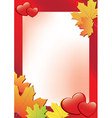 red autumn frame with hearts vector image