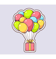 red gift box flying on colorful balloons vector image