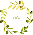 Round wreath with watercolor green leaves and