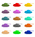 Set multicolored Tanks Military equipment on white vector image vector image