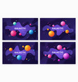 set of cartoon galaxy futuristic outer space vector image vector image