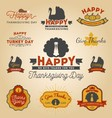set thanksgiving day labels happy thanksgiving vector image