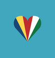 seychelles flag icon in a heart shape in flat vector image vector image