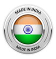 Silver medal Made in India with flag vector image vector image