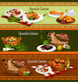 spanish cuisine traditional food banners vector image vector image