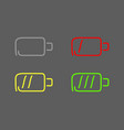 steps charging battery set icons draw effect vector image vector image