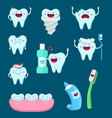 characters set of funny teeth and vector image