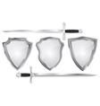 Set of metal shields with swords vector image