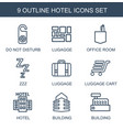 9 hotel icons vector image vector image