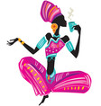 african woman in ethnic dress with cup in hand vector image vector image