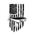 american flag with salmon fish design element
