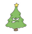 angry christmas tree cartoon character vector image vector image