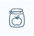 Apple jam jar sketch icon vector image vector image