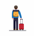 back view man travelling with backpack suitcase vector image vector image