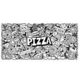 black and white doodle background for a pizzeria vector image