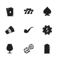 black casino icons set vector image vector image