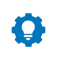 blue gear with lightbulb icon or logo design vector image