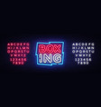 boxing neon sign design template boxing vector image vector image