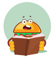 burger is reading a book on white background vector image