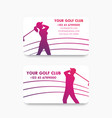 business card design for golf club with golfers vector image vector image