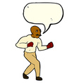 cartoon boxer with speech bubble vector image vector image