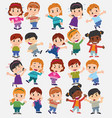 cartoon character boys and girls set vector image