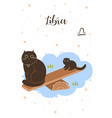 cats libra in cartoon style postcard with zodiac vector image