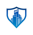 city buildings shield security logo icon vector image