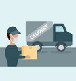 courier in face mask brought parcel vector image