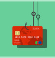 credit or debit card on fishing hook vector image