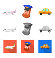 design of airport and airplane symbol set vector image vector image