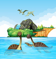 Dinosaurs living in the ocean vector image vector image