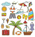 doodle cartoon items summer holiday collection vector image vector image